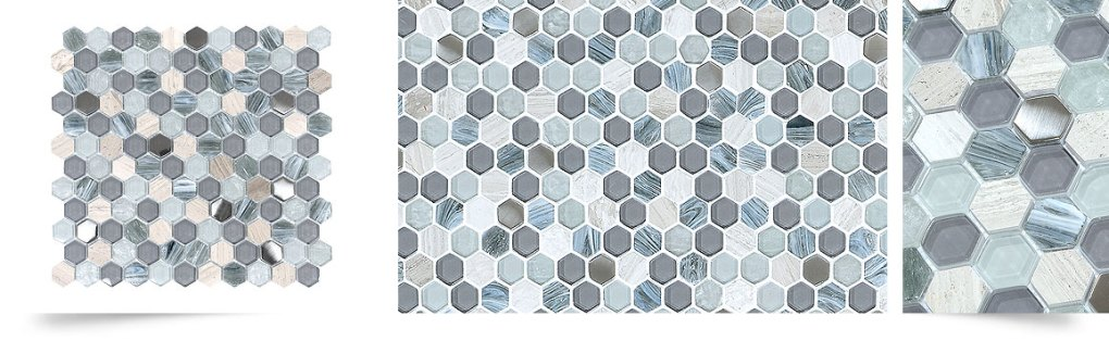 Blue Gray Hexagon Glass Marble Mosaic