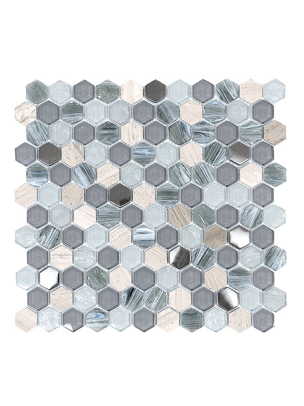 Blue Gray Hexagon Glass Marble Mosaic Tile