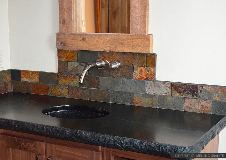 Brown Gray SUBWAY SLATE BACKSPLASH Tile | Backsplash.com on Black Granite Countertops With Backsplash  id=36955