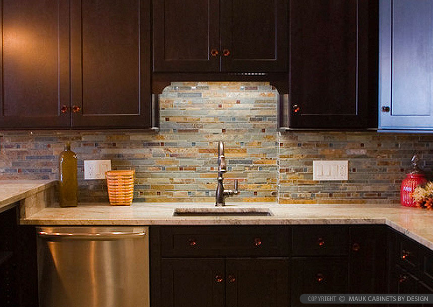 Brown Granite Countertop Slate Glass Mosaic Tile