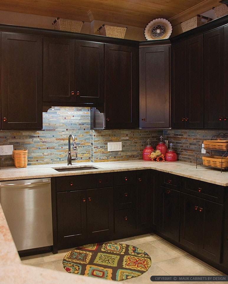 Subway Slate Glass Mosaic Tile Brown Cabinet