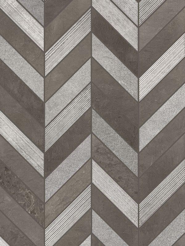 Gray Brown modern limestone chevron mosaic backsplash tile BA631611