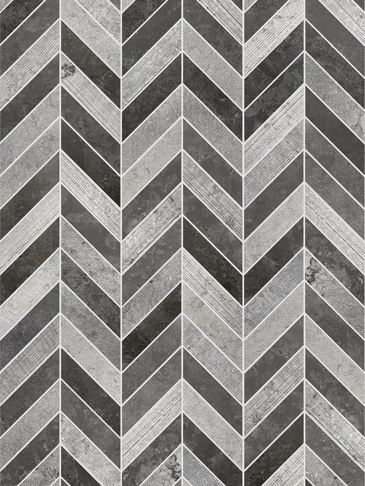 BA631614 Black Gray modern limestone chevron mosaic backsplash tile
