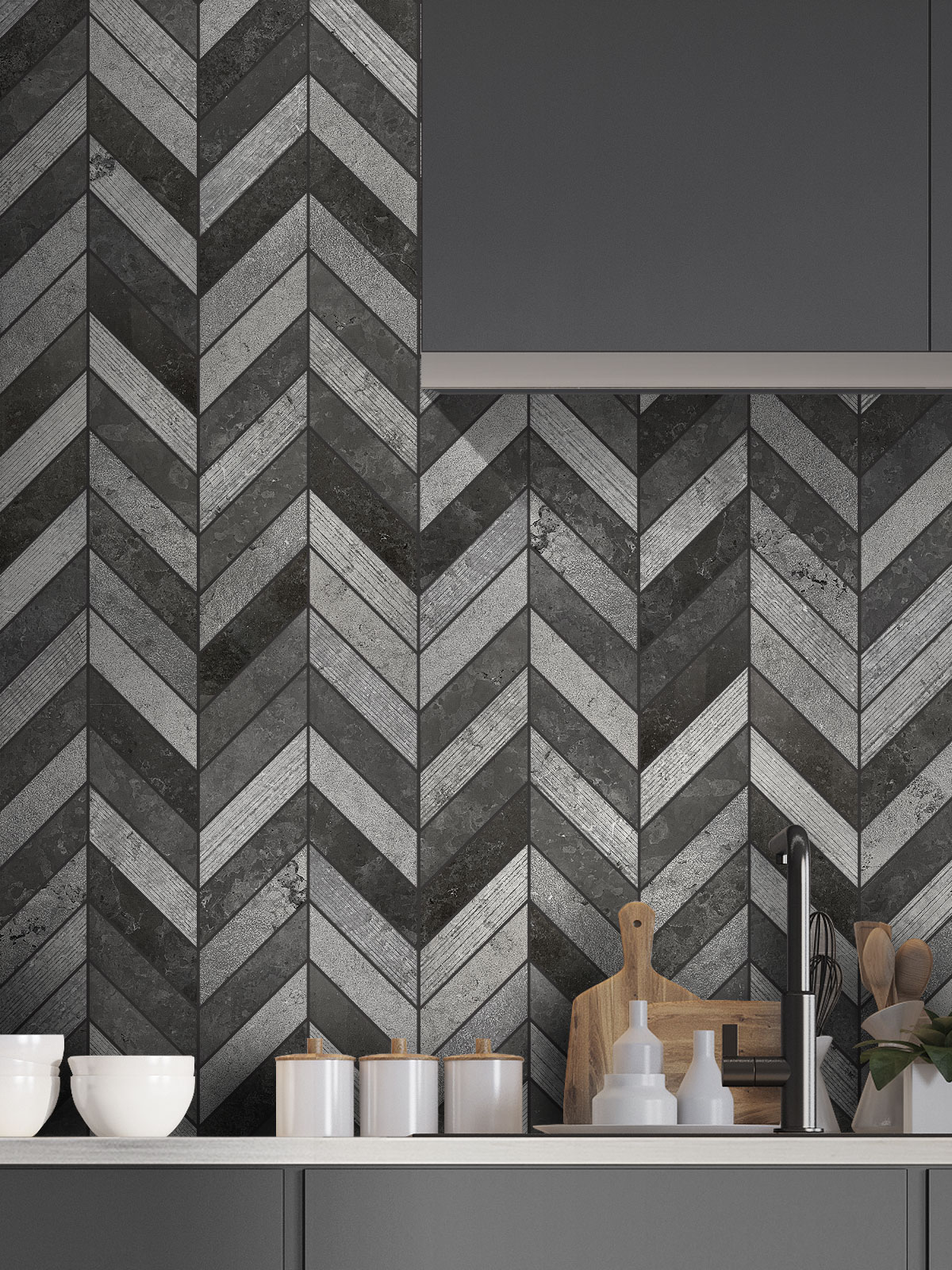 Black Gray modern limestone chevron mosaic backsplash tile cabinet BA631614