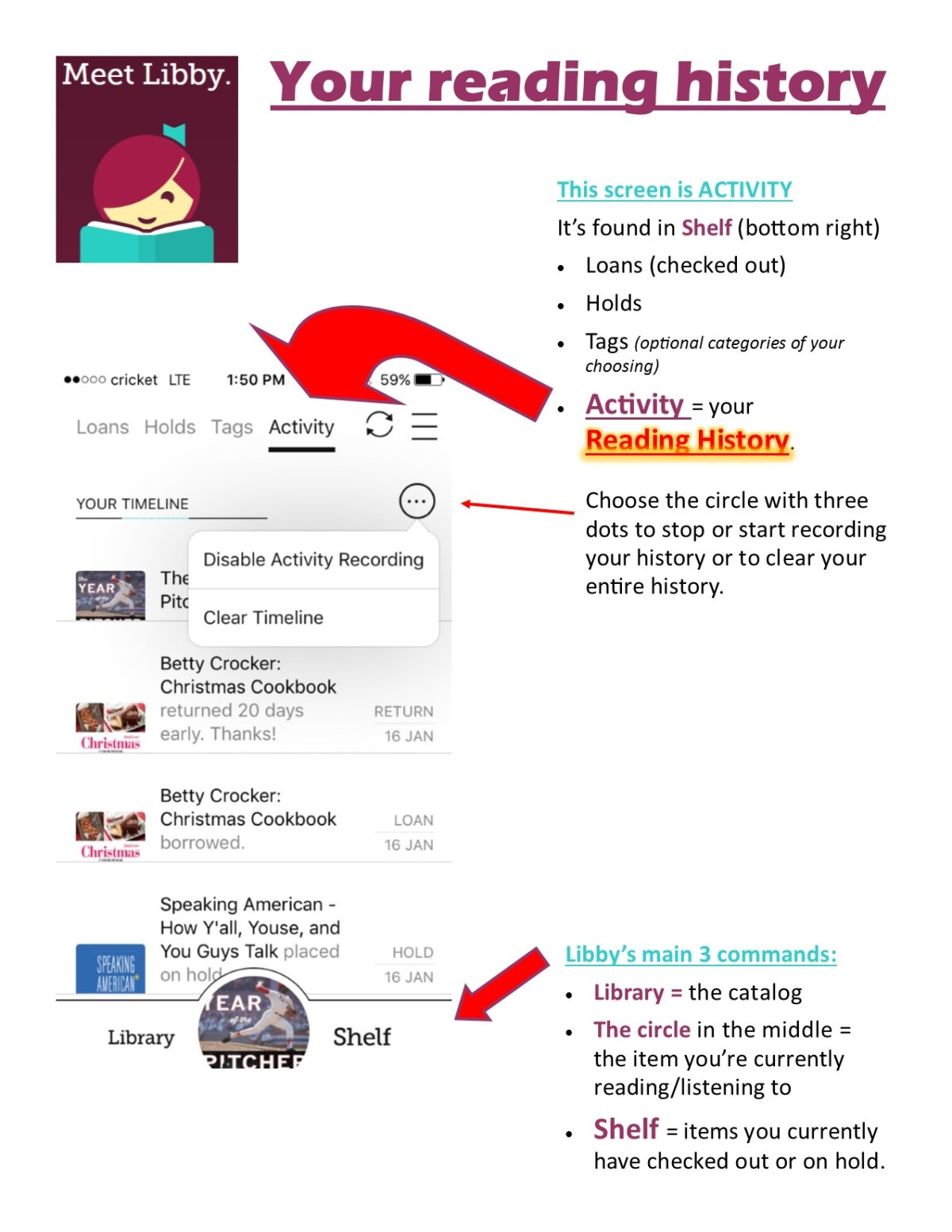 libby how to find reading activity