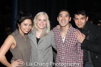 'Allegiance' reunion backstage at 'Miss Saigon' with Catherine Ricafort, Katie Rose Clarke, Chris Kong and Telly Leung at the Broadway Theatre in New York on March 27, 2017. Photo by Lia Chang