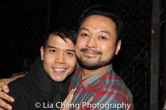Telly Leung visits Billy Bustamante backstage at 'Miss Saigon' at the Broadway Theatre in New York on March 27, 2017. Photo by Lia Chang