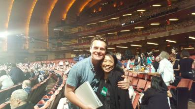 Jonathan Groff and Baayork Lee at the 71st Annual Tony Awards ceremony rehearsal on June 11, 2017. Photo: NAAP/Facebook
