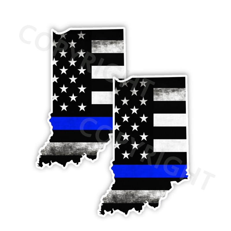 Thin Blue Line Indiana Bumper Stickers