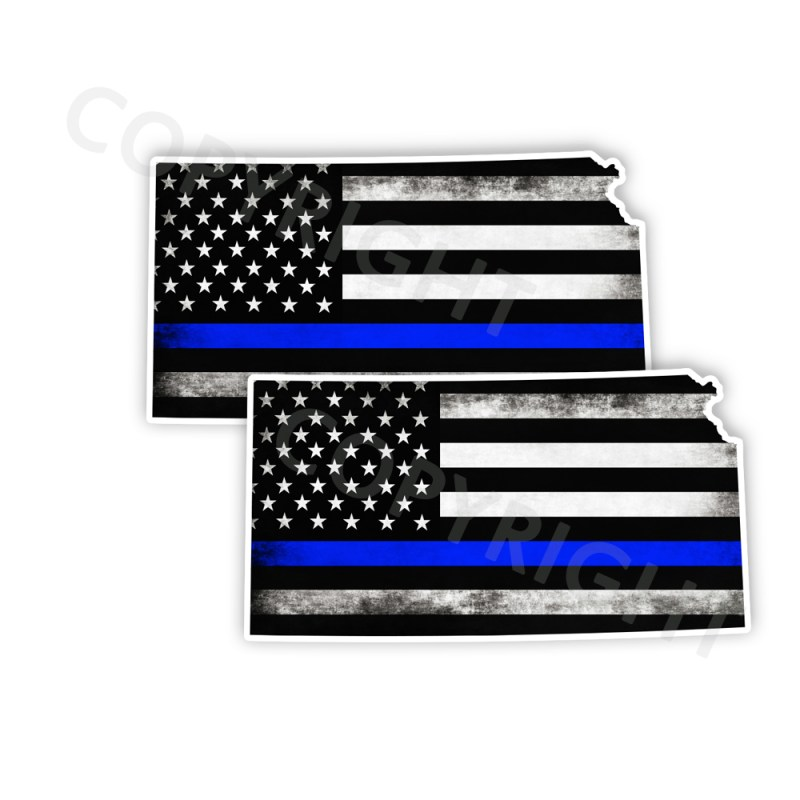 Thin Blue Line Kansas Bumper Stickers