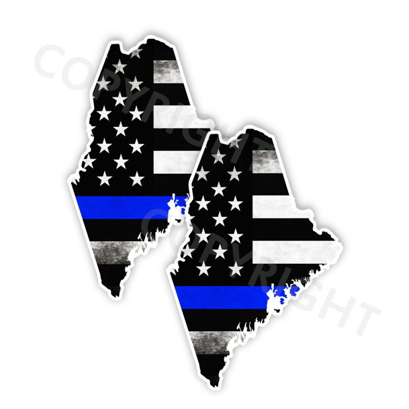 Thin Blue Line Maine Bumper Stickers