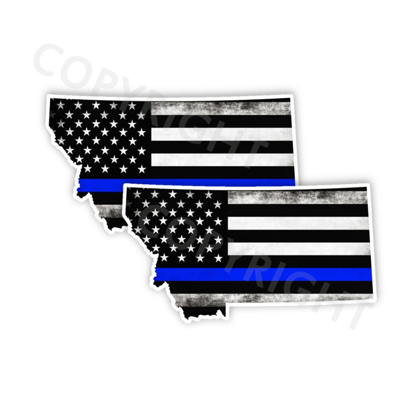 Thin Blue Line Montana Stickers