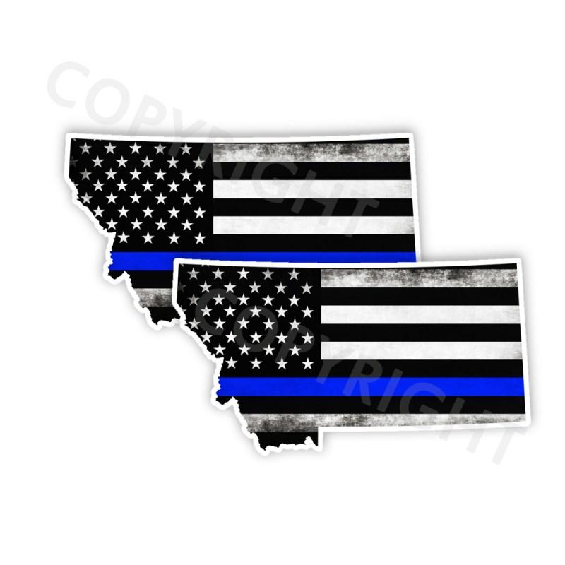 Thin Blue Line Montana Stickers
