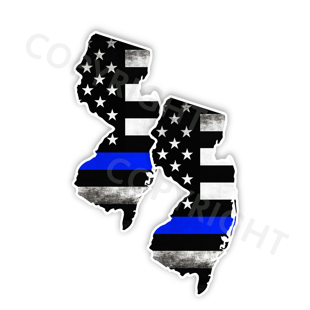 Thin Blue Line New Jersey Bumper Stickers