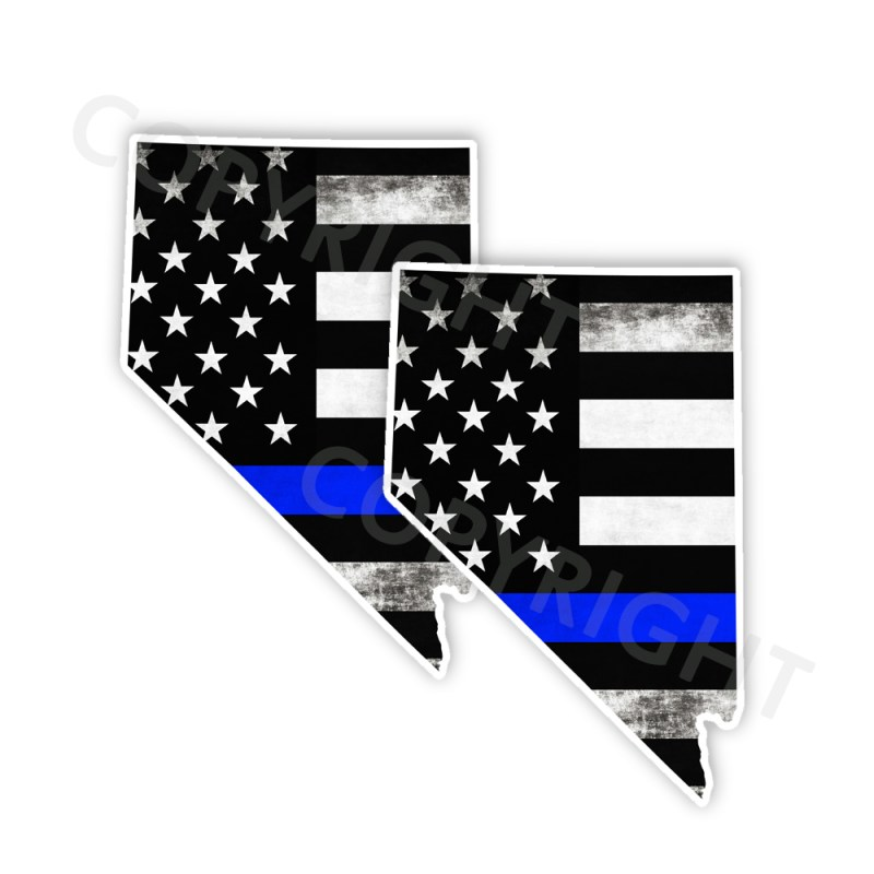 Thin Blue Line Nevada Bumper Stickers