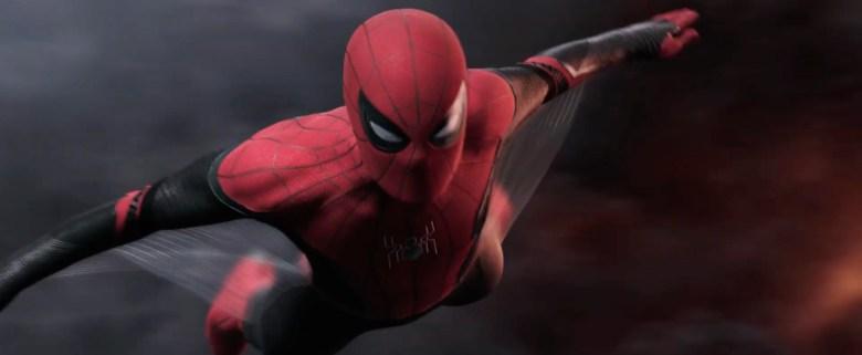 Spider-Man glides through the air