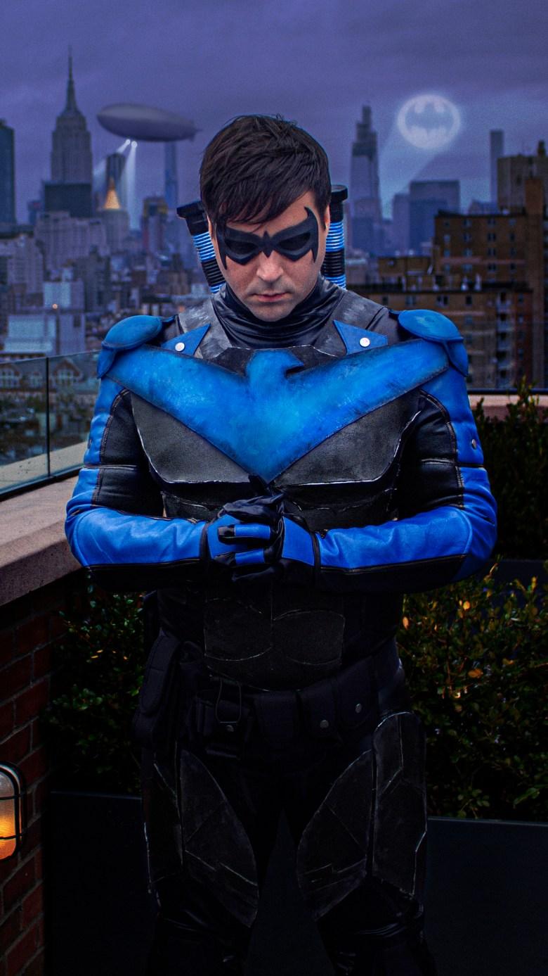 Brendan McWhirk in his Nightwing Halloween costume.