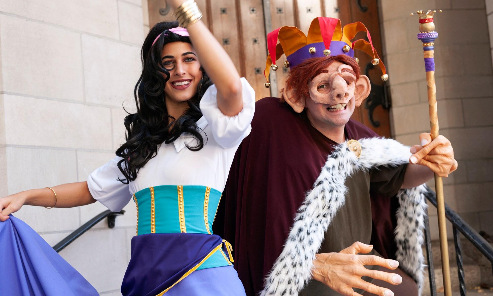 Andrea Arreaza as Esmeralda and Brendan McWhirk as Quasimodo.