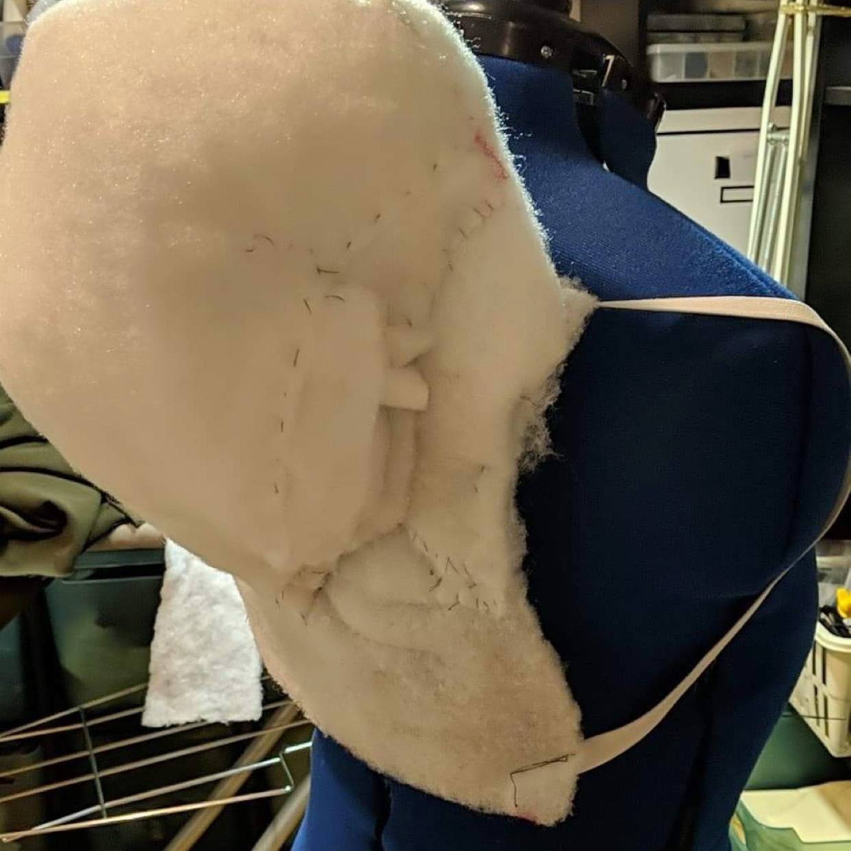 Making the hump for the Hunchback of Notre Dame costume.