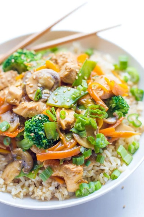 Healthy Recipes Chicken Stir Fry Recipe Rice Broccoli Carrots Chopsticks Dinner Food