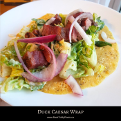 Duck Caesar Wrap on Chickpea Tortilla