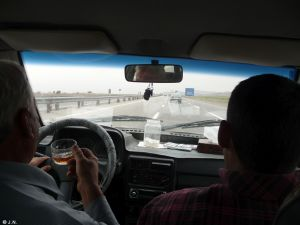 Drinking tea while driving to Kashan