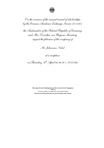 Invitation for the event at the residence