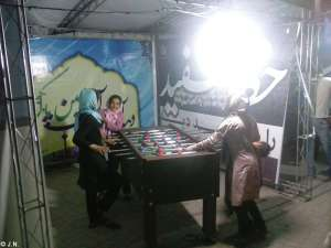 Ladies playing table football - Laleh Park