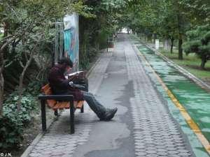 Guy reading boring news