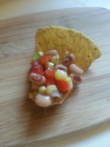 Black Eyed Peas Salsa Served On Chip