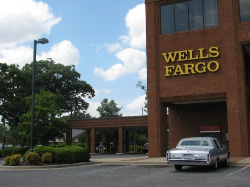 A brick Wells Fargo building. (Hadn't seen too many of these.)