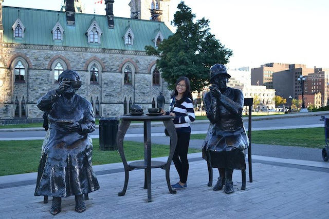 At The Famous Five on Parliament Hill in Ottawa, Canada.
