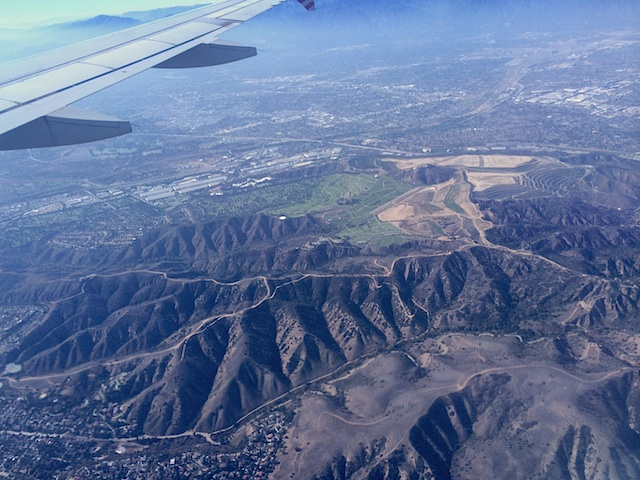 Flying some-thousand feet over Southern California.