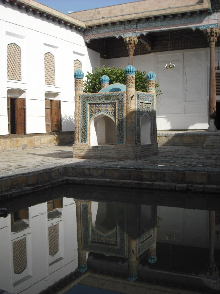 Monty Don's Paradise Gardens. A courtyard in Uzbekistan with central pool of water.