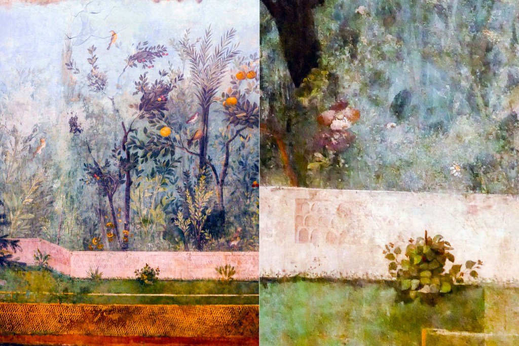 Livia's garden fresco. Details of flowers including poppies and violets.