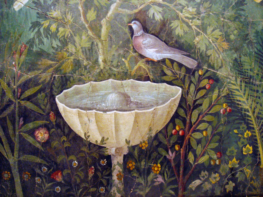 Garden fresco from the house of the Golden Bracelet in Pompeii. Detail of fountain and pigeon.