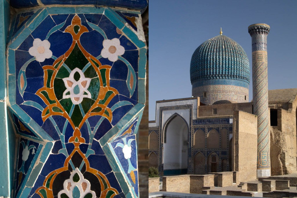 Timur's mausoleum, Gur-e Amir, in Samarkand, with close-up of tiles with flower motif.