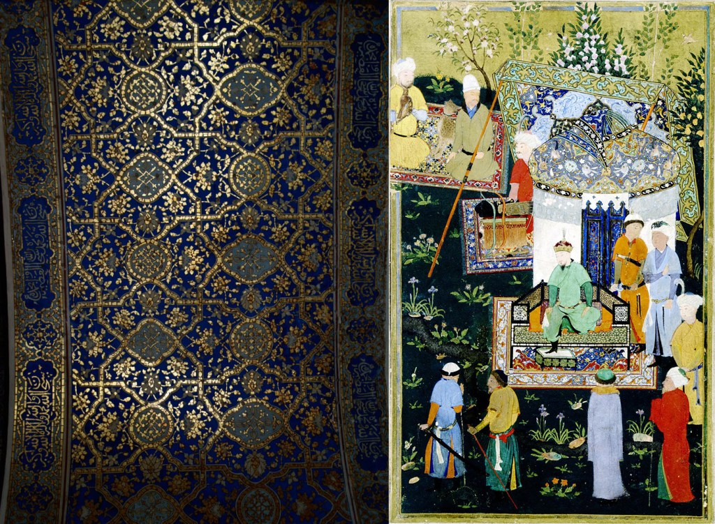 Left: blue and gold tiled archway, Samarkand. Right: Miniature painting of Timur granting audience on the occasion of his accession.