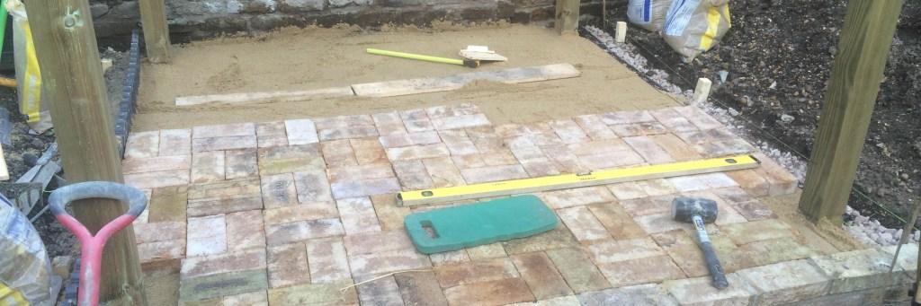London stock brick paver patio design and installation.