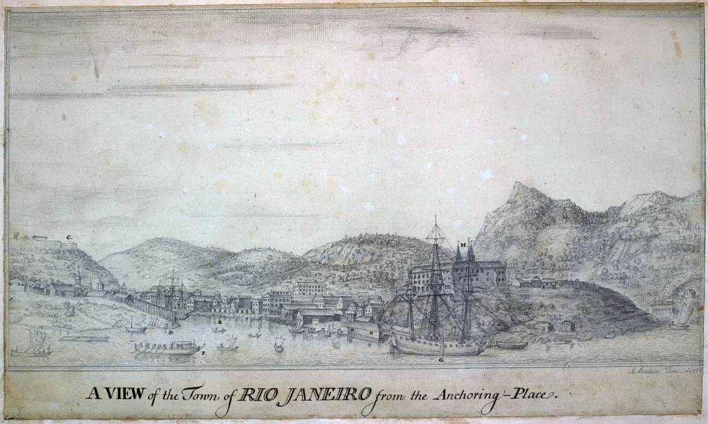 View of Rio de Janeiro, from the anchoring place. Fort St. Sebastian on the left, and the Benedictine convent on the high ground above the ship, the Old Ambuscade. Drawn by Alexander Buchan, artist on board the Endeavour, in November 1768.© The British Library.