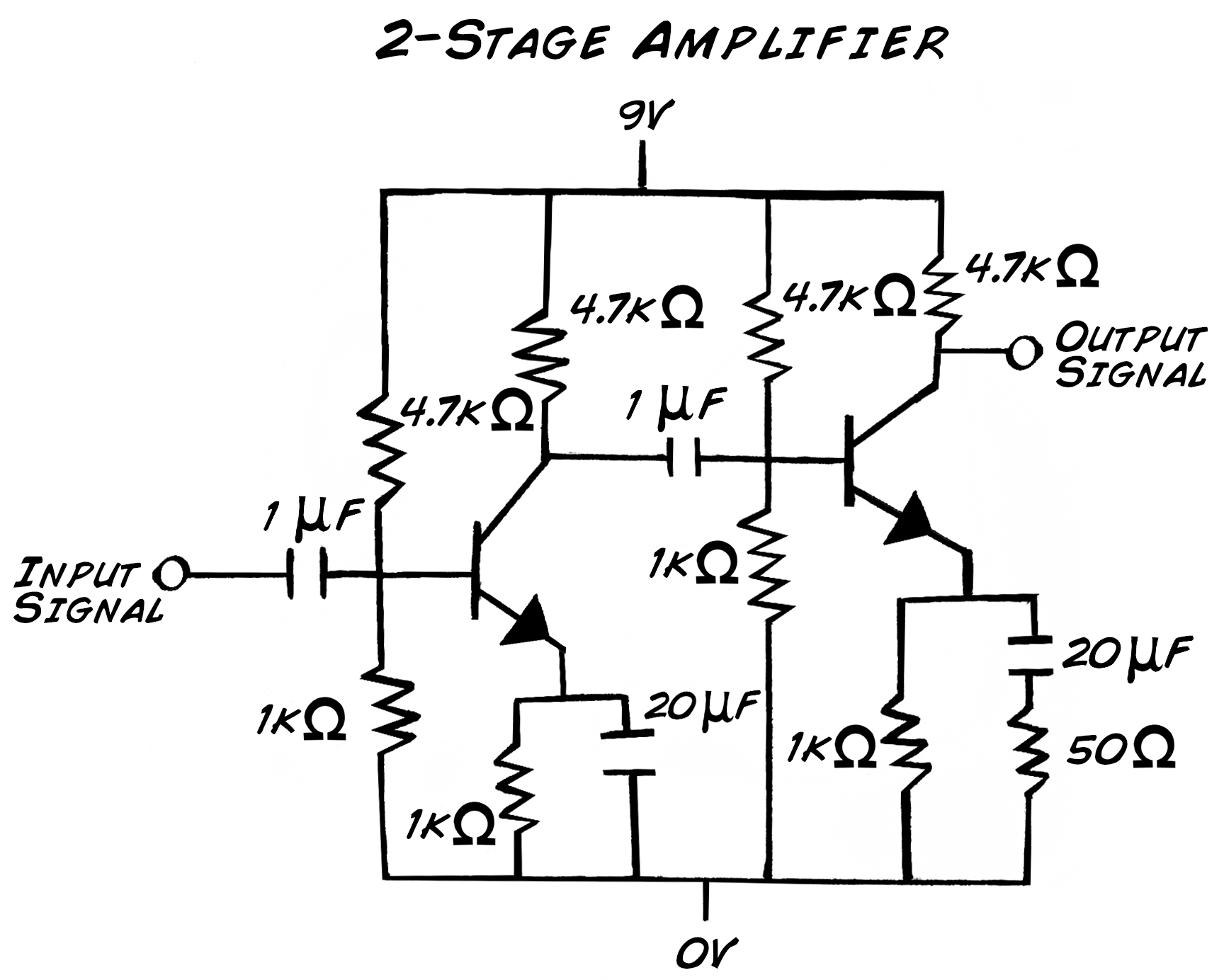 A Basic Common Emitter Amplifier Schematic