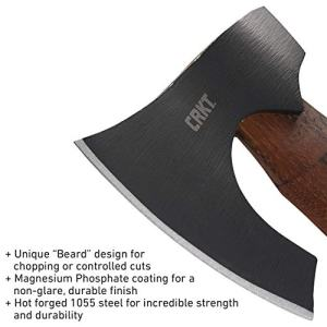 CRKT Freyr Tactical Axe: Outdoor Axe with Deep Beard Design CRKT Freyr Tactical Axe: Outdoor Axe with Deep Beard Design, Forged Carbon Steel Blade, and Hickory Wooden Handle 2746.