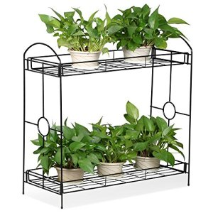 Topeakmart Indoor/Outdoor 2-Tier Metal Flower Stand Plant Stand Rack