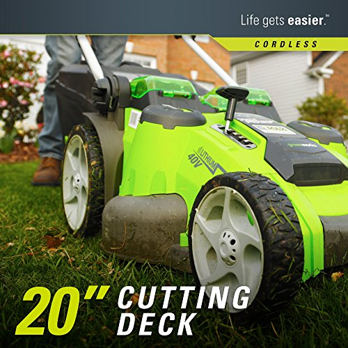Greenworks 20-Inch 40V Twin Force Cordless Lawn Mower Greenworks 20-Inch 40V Twin Force Cordless Lawn Mower, 4.0 AH & 2.0 AH Batteries Included 25302.