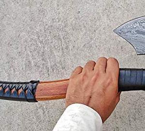 Ottoza Custom Handmade Damascus Tomahawk Axe Ottoza Custom Handmade Damascus Tomahawk Axe 17.5 inch - Damascus Axe - Survival Axe - Camping Axe - Battle Axe - Damascus Steel Axe - Viking Axe with Sheath No:81.