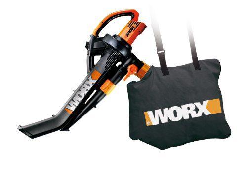 """WORX 3-in-1 Blower/Mulcher/Vacuum WORX WG505 3-in-1 Blower/Mulcher/Vacuum, 9"""" x 15"""" x 20"""", Orange and Black."""