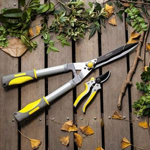 "Jardineer 2Pcs Professional Hedge Clippers, 23.6'' Heavy Duty Hedge Backyard Clippers 2-Piece Backyard Shears Set: 25"" Bush Trimmers & 8"" Hand Pruners."