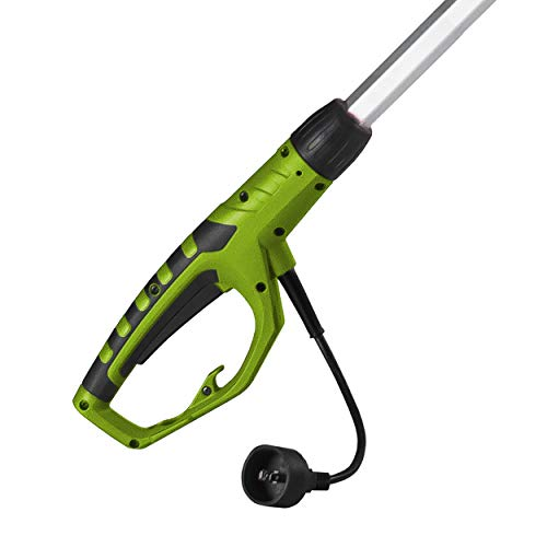"""Earthwise 6.5-Amp 8-Inch Corded Electric Pole Saw, Green Highly effective 6.5-Amp motor provides the facility to deal with trimming branches and limbs round your own home; Totally prolonged pole permits for 15-foot attain 8"""" bar and chain and 30 diploma/2-cutting head angles for a quick, clear lower; Protecting blade cowl included for blade safety and secure storage when not in use Pole measures roughly 9'5"""" when totally prolonged; Options computerized oiling system with oil degree window and tool-free tensioner adjustment Corded electrical plug-in and requires no gasoline or oil, leading to no fumes and no mess; Eco-friendly different to gas-powered garden and backyard tools Rubber over molded deal with with foam grip for consolation and ease throughout use; 2-year guarantee Earthwise PS44008 6.5-Amp 8-Inch Corded Electric Pole Saw, Green."""