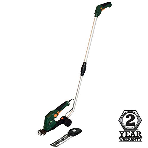 Scotts Outdoor Power Tools 7.5-Volt Lithium-Ion Cordless Grass Shear Scotts Outdoor Power Tools LSS10272PS 7.5-Volt Lithium-Ion Cordless Grass Shear/Shrub Trimmer with Wheeled Extension Handle, Green.