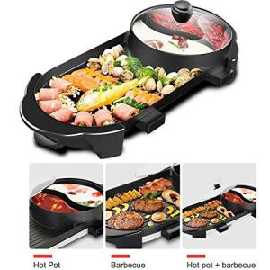 BBQ Grill & Hot Pot, Multi-Function Electric Barbecue Oven And Hot Pot with 5 Adjustable Electric Power Ideal for 2-5 Person Weekend Family Friend Party,110V
